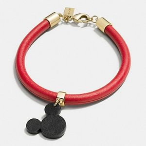 COACH DISNEY X MICKEY EARS  LEATHER CHARM BRACELET